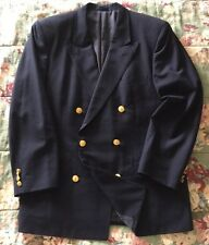GIEVES & HAWKES Navy Blue 100% Wool Double Breasted Jacket w/ Sword Btns - Sz 38