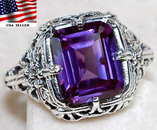 3CT Color Changing Alexandrite 925 Solid Sterling Silver Art Deco Ring Sz 9