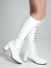 Knee High Boots - Fashion Eyelet Boots - Size 8 UK - White Patent