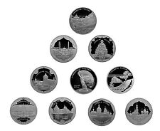 10 x 3 rublos rubles 10 x 1 Oz plata proof symbols of Russia rusia 2015