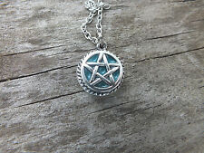 Silver Tone Pentagram Pendant Necklace  Glow in the dark Wiccan  Charm