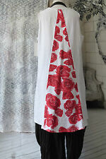 FAB  SARAH SANTOS 100% ASYMMETRIC  LINEN  LONG TUNIC TOP SIZE L/XL RED/WHITE