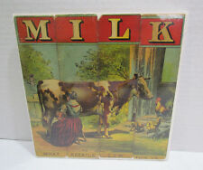 MILK COW FARM ANTIQUE VINTAGE VICTORIAN PUZZLE CRISS CROSS SPELLING STRIPS 4 pcs