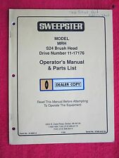SWEEPSTER MODEL MRH POWER SWEEPER OPERATORS-MAINTENANCE-PARTS MANUAL