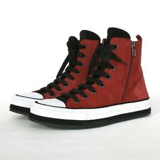 ANN DEMEULEMEESTER $980 hi-top red leather sneakers suede trainers shoes 37 NEW