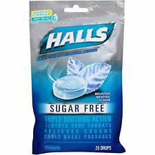 2 Pack Halls Sugar Free Triple Soothing Action Mountain Menthol 25 Drops Each