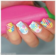 Nail Art Water Decals Nail Stickers Transfers Neon Lace Stars Strips Star