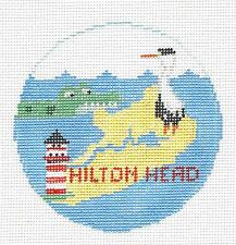 *NEW* Kathy Schenkel HILTON HEAD, SOUTH CAROLINA Needlepoint Canvas HP Ornament