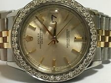 Rolex mens two tone diamond  custom Bezel 36mm Date just automatic watch