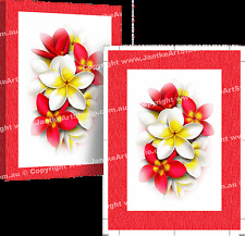 Frangipani Red Flowers Canvas Art Print by Peter Jantke