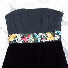 ANTHROPOLOGIE FLOREAT Enchanted Evening Black  Embroidery Strapless Dress size 0