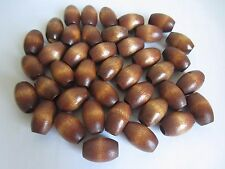 "Lot of 40 Maple Wood Oval Oblong Macrame Plant Hanger Craft Beads 1-1/4"" 32mm"