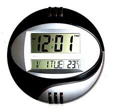 Design Numérique Horloge Murale Montre Chrome 12/24 Heures Date Calendrier