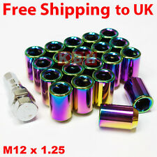 20x NEO CHROME STEEL WHEEL TUNER NUTS M12x1.25 fit NISSAN SUBARU IMPREZA WRX STI