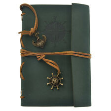 Vintage Faux Leather Cover Notebook Journal Diary Blank String Nautical Green