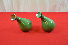 Eva Zeisel Red Wing Town + Country Pair Cruets w Stoppers Forest Green MCM #1437