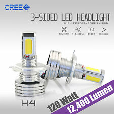 120W 12400LM CREE LED 9003/H4 Headlight Kit High/Low Beam Bulbs 6000K White