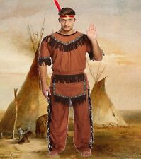 Adulto Para Hombre Macho Rojo Jefe Indio Fancy Dress Costume Native American U00 088
