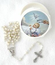 Screwtop Case Cream White Glass Pearl Beads BAPTISM ROSARY Catholic Keepsake NEW