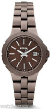 Fossil AM4403 Sylvia Brown Dial Brown Stainless Steel Women's Watch