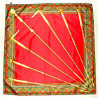 Stunning CHRISTIAN FISCHBACHER Signed PAISLEY Red Gold Green CANES Silk Scarf