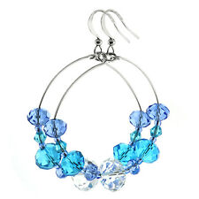 1.5 Inch Ocean Blue and White Faceted Bead Crystal Dangle Hoop Earrings