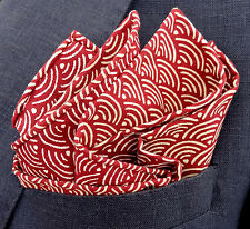 Red Japanese Cotton Handkerchief - Pocket Square - Hand Rolled Edges - NEW