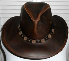 USA MADE Henschel Hats OUTBACK Rustic Leather Western Cowboy Hat BROWN Medium
