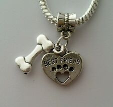 Pet Best friend Dog Heart Print Bone Dangle Bead Fits European Style Bracelet