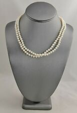 "17"" ESTATE HAND KNOTTED PEARL SINGLE STRAND NECKLACE SILVER LOBSTER CLASP"
