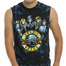Guns N' Roses Men's LARGE Classic Skeletons Blue Black Tie Dye Muscle Tank Tee