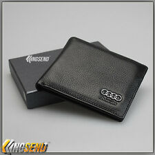 deluxe AUDI Genuine 100% Cow Leather Bifold Wallet Men Slim Purse Car Pouch Gift