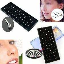 60 Piece Box Mix Colour Luxury Nose Studs Stainless Steel Bar Piercing Jewellery