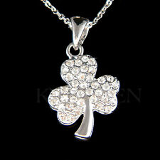 w Swarovski Crystal ~3 Leaf Clover Lucky Shamrock Irish St Patricks Day Necklace
