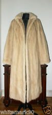 Real Female Ranch Ivory Pearl Blonde Cream Mink Fur Coat Jacket Stole Shawl Cape