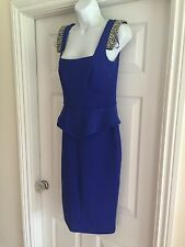 River Island Blue Beaded Peplum Zip Midi Bodycon Dress Size 6-8  £65