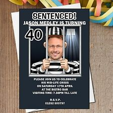 10 Personalised 21st 30th 40th 50th Jail Birthday Party PHOTO Invitations N163