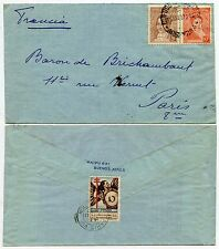 ARGENTINA 1936 COMITE NATIONAL LABEL POSTMARKED in FRANCE 1937