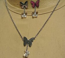 Nomination Stainless Steel Necklace/Earrings Set-Crystal Dangle Butterfly-Italy