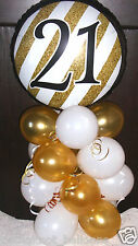 "18"" FOIL BALLOON  TABLE DECORATION DISPLAY AGE 21 21ST BIRTHDAY GOLD & WHITE"