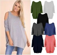 New Ladies Womens  Shoulder Cut Long Sleeve Baggy Mini Dress Top Plus Size 8-26