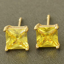 24k Yellow Gold Plated 7 mm Big Mystery Topaz Womens Square Stud Earrings Gift