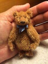 "Miniature Hand Sewn 3"" Mohair Teddy Bear PURSE by Artist L. Wright"