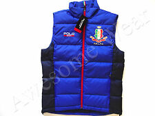 New Ralph Lauren Polo SPORT Blue & Navy Italy Crested Poly Puffer Down Vest S