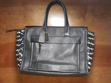 Coach Black White Bleecker python Leather Riley Carryall tote F27988