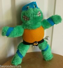 Vintage 1989 TMNT Teenage Mutant Ninja Turtle Leonardo Plush Figure 8.5""