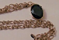 LOVELY ANN TAYLOR GOLD TONE RHINESTONE AND FAUX GREEN CRYSTAL PENDANT NECKLACE