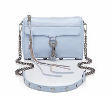 REBECCA MINKOFF $195 SOFT BLUE LEATHER MINI MAC CROSSBODY HANDBAG BAG