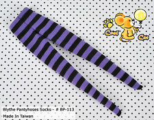☆╮Cool Cat╭☆【BP-113】Blythe Pantyhoses Doll Socks # Stripe Black+Purple