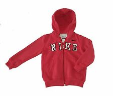 Nike boys size 4t zip up hoodie jacket - red thick with pockets sweatshirt